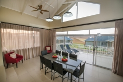 Luxury Lodge Unit open plan dining, patio and braai area